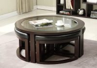 A Round Coffee Table With Friends Around And With Storage To Keep Many